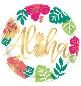 """Amscan You Had Me At Aloha 10"""" Plates - 8ct."""