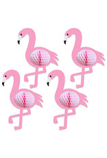 """Beistle 10"""" Honeycomb Flamingos - 4ct."""