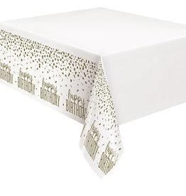 """unique Confetti Gold Birthday Tablecover - 54"""" x 84"""""""