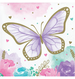 creative converting Butterfly Shimmer Bev. Napkins - 16ct.