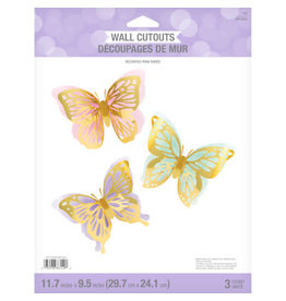 creative converting Butterfly Shimmer 3D Wall Cutouts - 3ct.