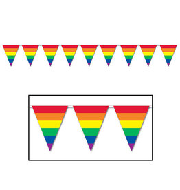 Beistle Rainbow Pennant Banner - 30ft.