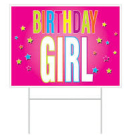 "Beistle Birthday Girl Lawn Sign - 11.5"" x 15.5"""