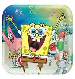 "Amscan Spongebob 9"" Sq. Plates - 8ct."