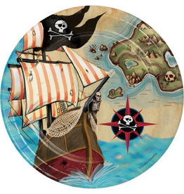 """creative converting Pirate's Map 7"""" Lunch Plate - 8ct."""
