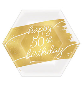 "Amscan Golden Age 50th Birthday 7"" Plates - 8ct."