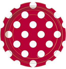 """unique Ruby Red Dots 7"""" Plates - 8ct."""