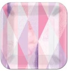 "Amscan Pink Geo 9"" Square Plates - 8ct."
