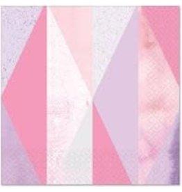 Amscan Pink Geo Bev. Napkins - 16ct.