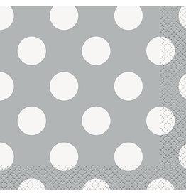 unique Silver Dots Bev. Napkins - 16ct.