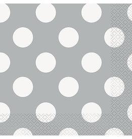 unique Silver Dots Lunch Napkins - 16ct.