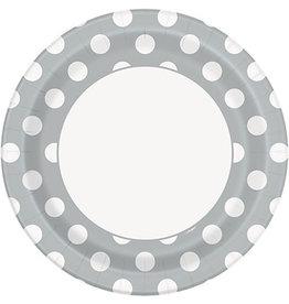 """unique Silver Dots 9"""" Plates - 8ct."""