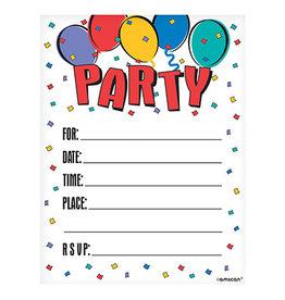 Amscan Balloon Party Invites - 8ct.