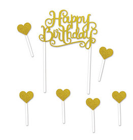 Beistle Gold Happy Birthday Topper - 7ct.