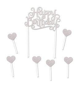 Beistle Silver Happy Birthday Cake Topper - 7ct.
