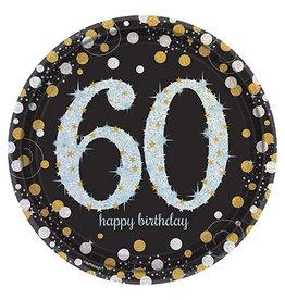 "Amscan Sparkling Celebration 60th 9"" Plates - 8ct."