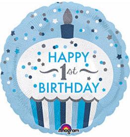 "A to Z 18"" 1st Birthday Blue Holographic Cupcake Mylar"