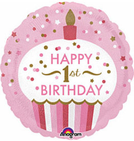 """A to Z 18"""" 1st Birthday Pink Holographic Cupcake Mylar"""
