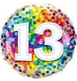 """mayflower 18"""" Rainbow Confetti 13th Birthday Mylar"""