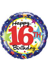 """mayflower 18"""" 16th Birthday Stars Mylar"""