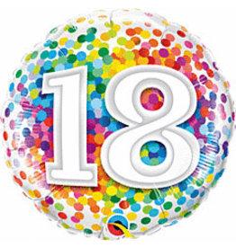 """mayflower 18"""" Rainbow Confetti 18th Birthday Mylar"""