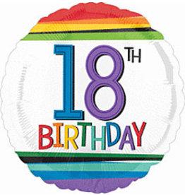 """A to Z 18"""" Rainbow Striped 18th Birthday Mylar"""