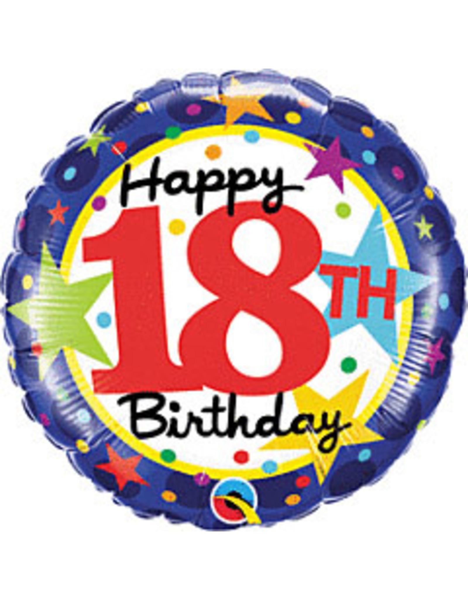 """mayflower 18"""" Happy 18th Birthday Stars Mylar"""