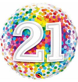 "mayflower 18"" Rainbow Confetti 21st Birthday Mylar"
