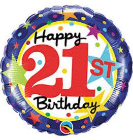 """mayflower 18"""" 21st Birthday Stars Mylar"""