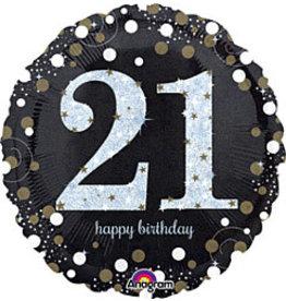 """A to Z 18"""" Sparkling Birthday 21st Birthday Mylar"""