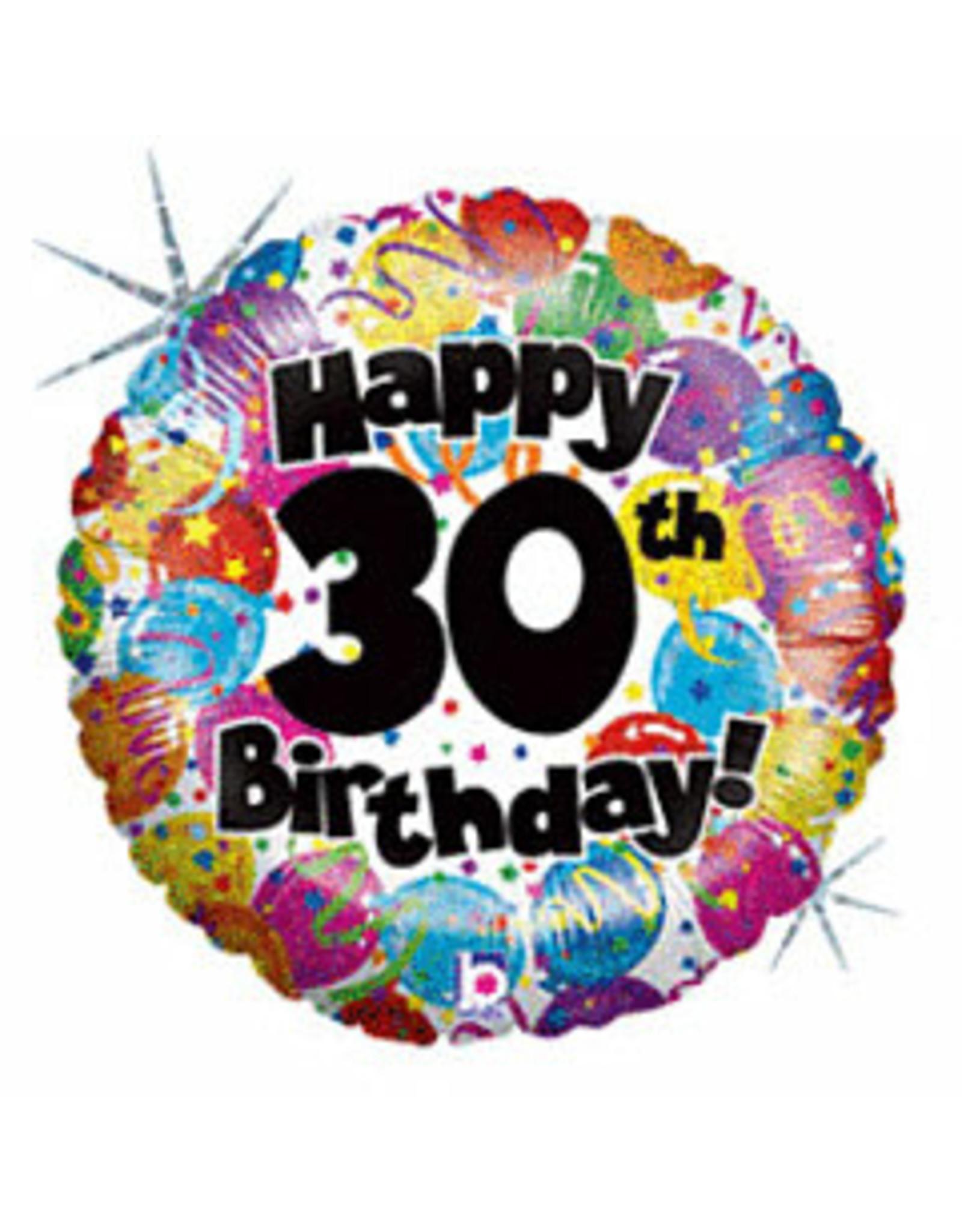 """mayflower 18"""" Happy 30th Birthday Holographic  Mylar"""