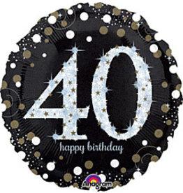 "A to Z 18"" Sparkling 40th Birthday Mylar"