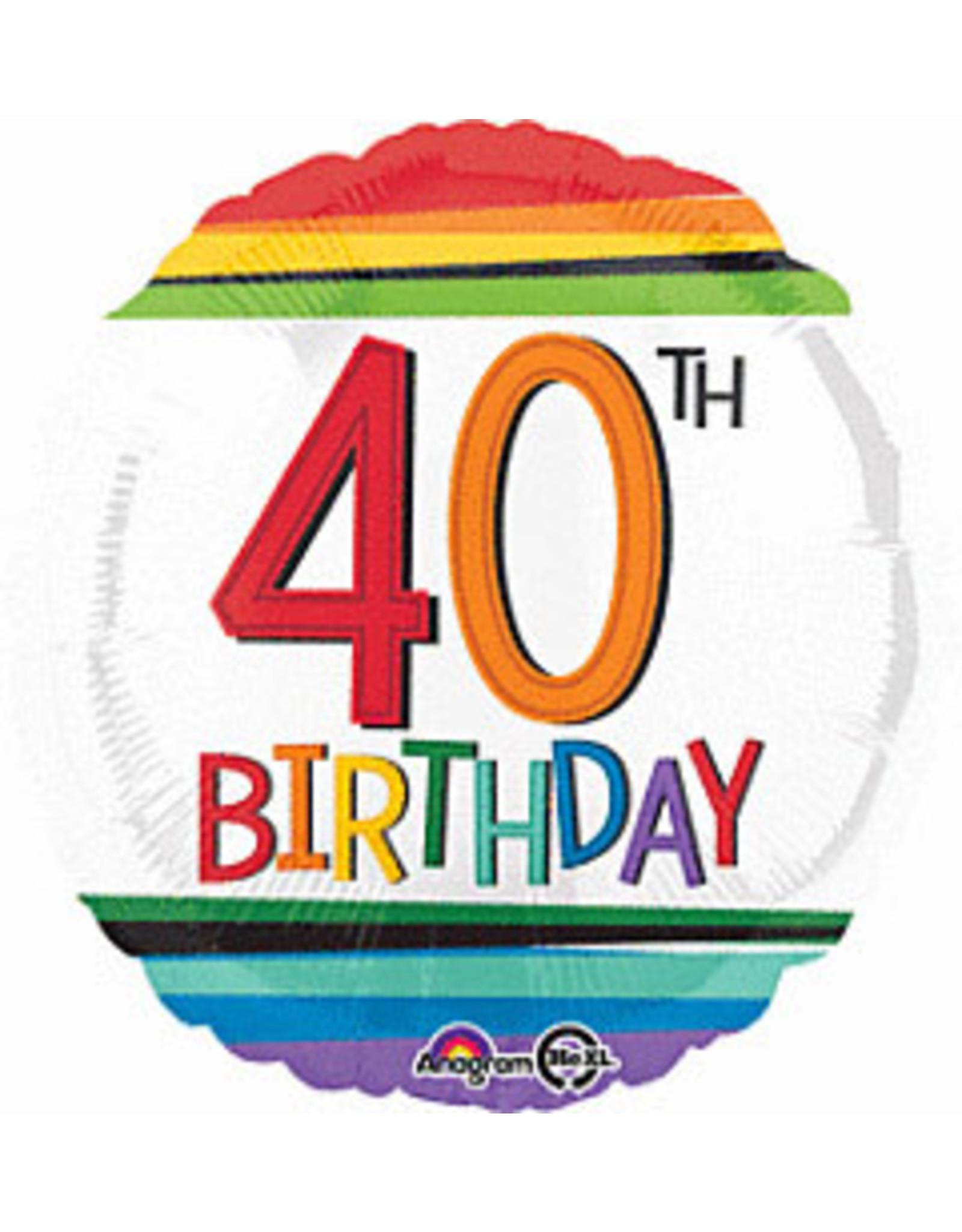"""A to Z 18"""" 40th Rainbow Birthday Mylar"""