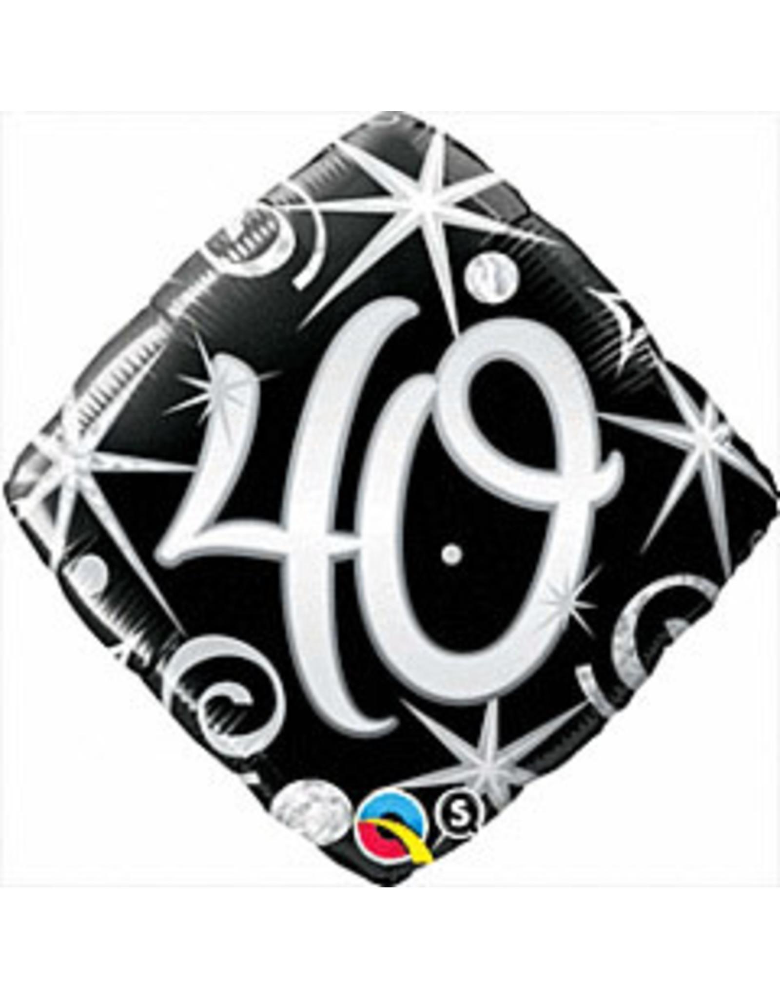 """mayflower 18"""" Elegant Sparkle 40th Birthday Mylar"""