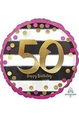 "A to Z 18"" Pink & Gold 50th Milestone Birthday Mylar"