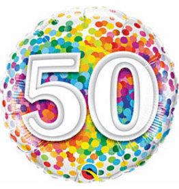 """mayflower 18"""" 50th Birthday Rainbow Confetti Mylar"""