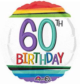 """A to Z 18"""" Rainbow 60th Birthday Mylar"""