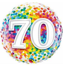 """mayflower 18"""" Rainbow 70th Birthday Confetti Mylar"""