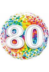 """mayflower 18"""" Rainbow 80th Confetti Birthday Mylar"""