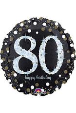 """A to Z 18"""" Elegant Sparkle 80th Birthday Mylar"""