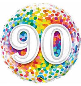 """mayflower 18"""" Rainbow 90th Birthday Confetti Mylar"""
