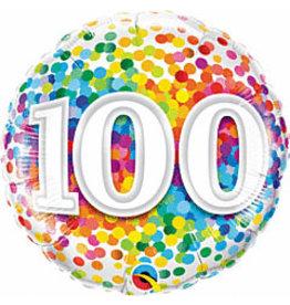"""mayflower 18"""" Rainbow 100th Birthday Confetti Mylar"""