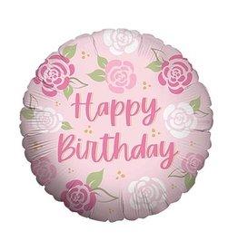 """Burton + Burton 18"""" Pink Roses Happy Birthday Mylar"""