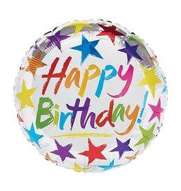 "Burton + Burton 18"" Silver Stars Happy Birthday Mylar"