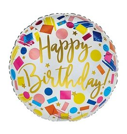 """Burton + Burton 18"""" Bright Confetti Happy Birthday Mylar"""
