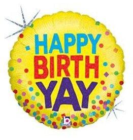 """mayflower 18"""" Holographic Birthday 'Yay' Mylar"""