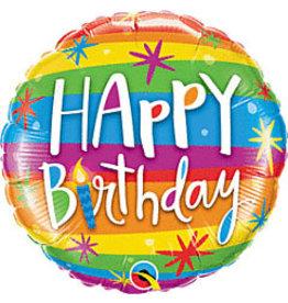 """mayflower 18"""" Rainbow Stripes Birthday Mylar"""