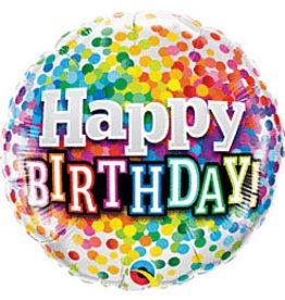 "mayflower 18"" Rainbow Confetti Birthday Mylar"
