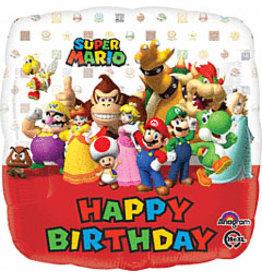 """mayflower 18"""" Super Mario Birthday Mylar"""