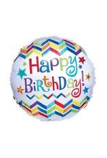 "Burton + Burton 18"" Chevron Birthday Mylar"